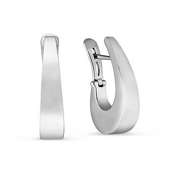 14K White Gold J Hoop Earrings
