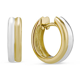 14K White & Yellow Gold Two-Tone Double Row Hinged Hoop Earrings