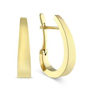 14K Yellow Gold Tapered J-Hoop Earrings