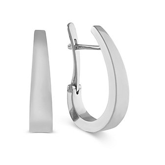 14K White Gold Tapered J-Hoop Earrings
