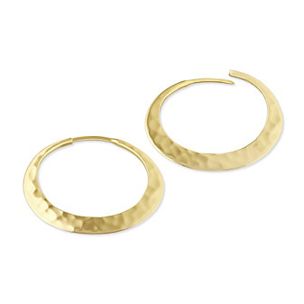 Toby Pomeroy 14K Yellow Gold Hammered Eclipse Hoop Earrings