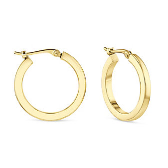 14k yellow gold square tube hoop earrings, small