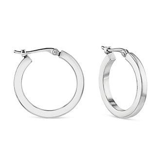 14k white gold square tube hoop earrings, small