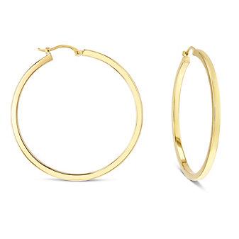 14k yellow gold square tube hoop earrings, large