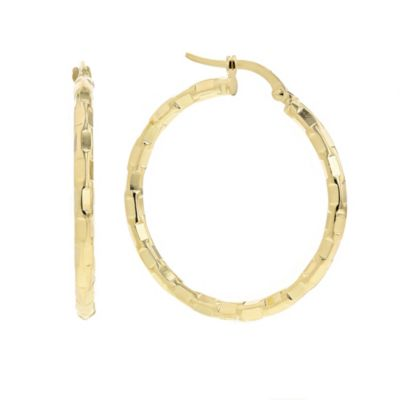 14k yellow gold bricked large hoop earrings