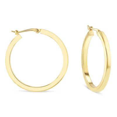 14k yellow gold square tube hoop earrings, medium