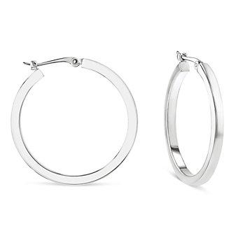 14k white gold square tube hoop earrings, medium