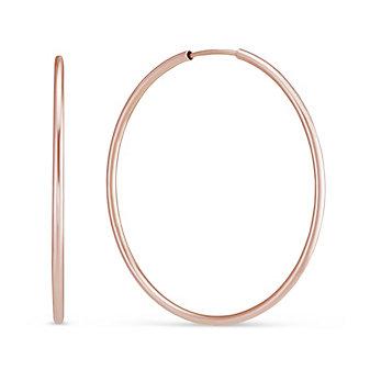 14K Rose Gold Endless Hoop Earrings, 1.5x40mm