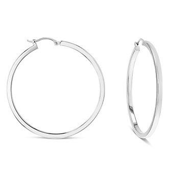 14k white gold square tube hoop earrings, large