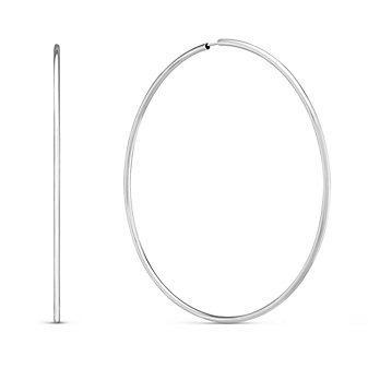 14K White Gold Endless Hoop Earrings, 1.5x60mm
