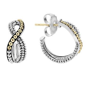 Lagos Sterling Silver & 18K Yellow Gold Inifinity Hoop Twist Earrings