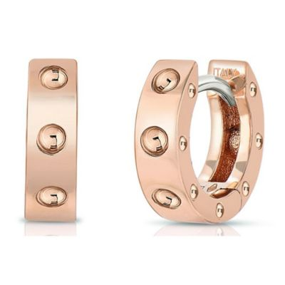 Roberto Coin 18K Rose Gold Pois Moi Oval Symphony Dotted Small Hoop Earrings