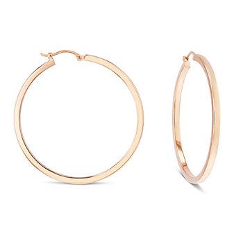 14k rose gold square tube hoop earrings, large