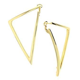 roberto coin 18k yellow gold traingle bold gold hoop earrings