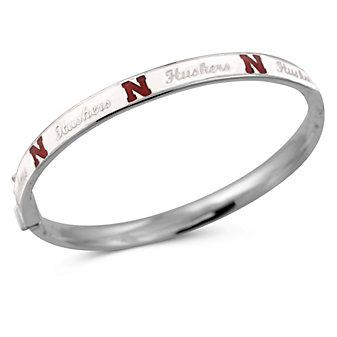Nebraska Huskers Sterling Silver and White Enamel Bangle