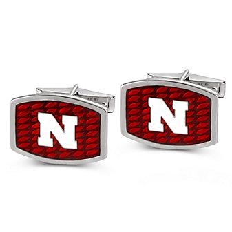 Nebraska Husker Sterling Silver and Enamel Cufflinks