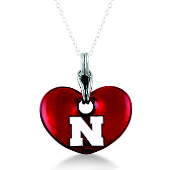 Nebraska Huskers Sterling Silver and Red Enamel Heart Shaped Pendant