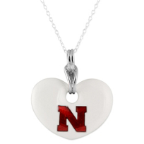 Nebraska_Huskers_Sterling_Silver_and_White_Enamel_Heart_Shaped_Pendant