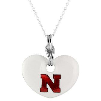 Nebraska Huskers Sterling Silver and White Enamel Heart Shaped Pendant
