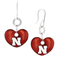 Nebraska_Huskers_Sterling_Silver_and_Red_Enamel_Heart_Shaped_Earrings