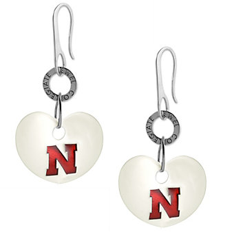 Nebraska Huskers Sterling Silver and White Enamel Heart Shaped Earrings