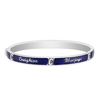 Creighton Bluejays Sterling Silver & Blue Enamel Bangle Bracelet