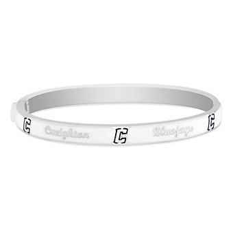 Creighton Bluejays Sterling Silver & White Enamel Bangle Bracelet