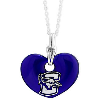 Creighton Bluejays Sterling Silver & Blue Enamel Heart Pendant
