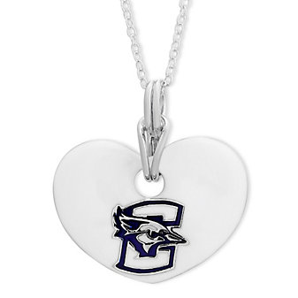Creighton Bluejays Sterling Silver & White Enamel Heart Pendant