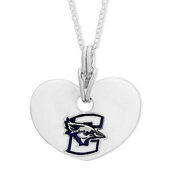 Creighton Bluejays Sterling Silver & White Enamel Heart Pendant