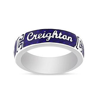 Creighton Bluejays Sterling Silver & Blue Enamel Ring, Size 5