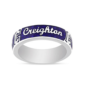 Creighton Bluejays Sterling Silver & Blue Enamel Ring, Size 8
