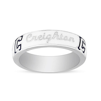 Creighton Bluejays Sterling Silver & White Enamel Ring, Size 6