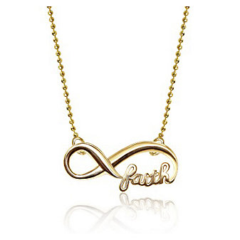 Alex Woo 14K Yellow Gold Little Words Infinite Faith Pendant