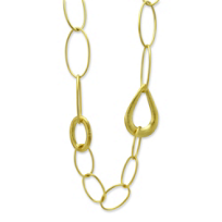 """14K_Yellow_Gold_Oval_and_Teardrop_Link_Necklace,_24"""""""