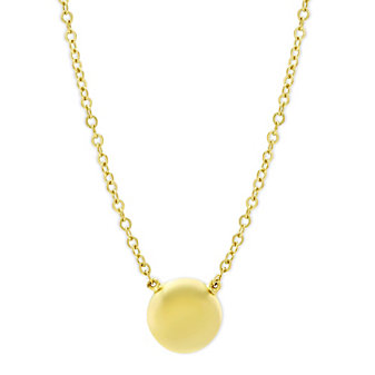 14K Yellow Gold Flat Ball Necklace, 17.5""