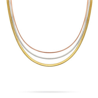 Marco Bicego 18K Yellow, White and Rose Gold Goa Three Strand Necklace