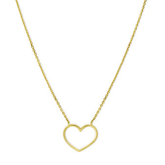 14K Yellow Gold Open Heart Necklace, 18""