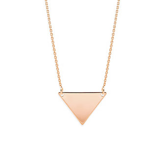 14K Rose Gold Triangle Necklace, 18""