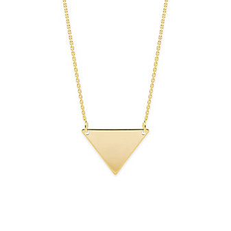 """14K Yellow Gold Triangle Necklace, 18"""""""