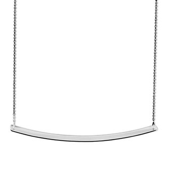 14K White Gold Curved Bar Necklace, 18""