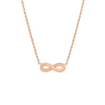 "14K Rose Gold Infinity Necklace, 18"""