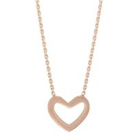 """14K_Rose_Gold_Open_Heart_Pendant,_18"""""""