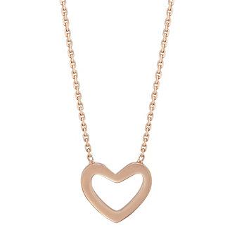 """14K Rose Gold Open Heart Pendant, 18"""""""