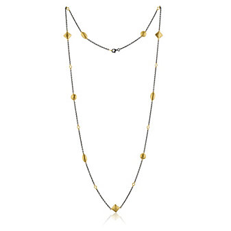 Lika Behar 24K Yellow Gold Oxidized Sterling Silver Hammered 9 Station Necklace, 36""