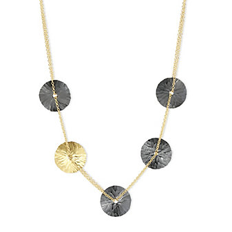 Toby Pomeroy 14K Yellow Gold & Black Sterling Silver Oasis Disc Necklace