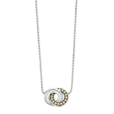 Lagos Sterling Silver & 18K Yellow Gold Enso Circle Necklace