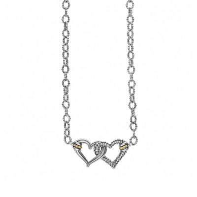 Lagos Sterling Silver & 18K Yellow Gold Beloved Small Double Heart Necklace