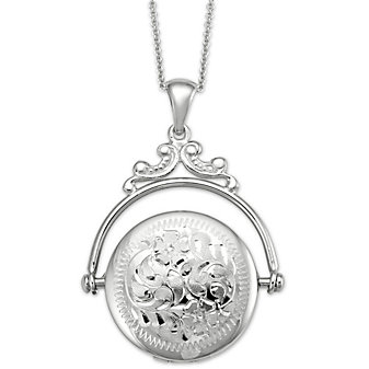 14K Engraved Spinning Locket with Chain