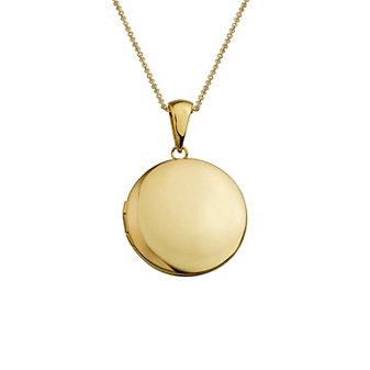 14K Yellow Gold Round Locket Pendant